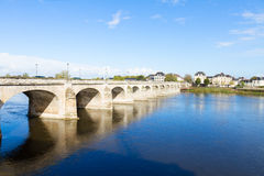 Roman bridge in Saumur, France Stock Photo