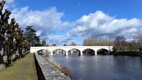 The Roman bridge in a small French town. Stock Photo