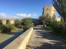 The roman bridge & tower in Cordoba stock photos