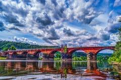 Roman Bridge in Trier stock foto's