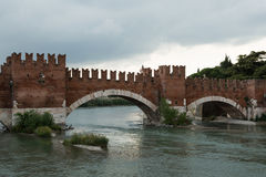 Roman bridge, Verona, Italy Stock Images