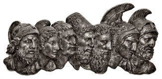 Roman Busts. A group of roman busts on a white background Stock Image