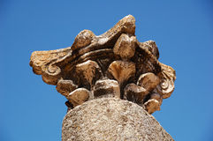 Roman capital. Of Corinthian style in the ruins of the Roman Theatre of Merida Royalty Free Stock Photo