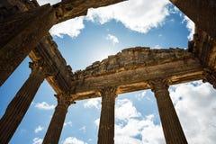Roman Capitol ruine Tunesien, Dougga Lizenzfreies Stockfoto