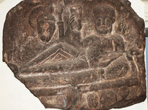 Roman carved stone with reclining figure in Chester England Royalty Free Stock Image