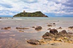 Roman castle tower on Island Sardinia Italy stock image