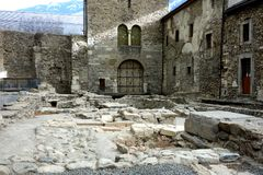 Roman Catacombs of Abby St Maurice. Historical archaeological site in the back of the monastery in Valais Switzerland is tombs dating back to the roman times Stock Images