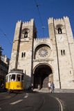 Roman Catholic Archdiocese of Lisbon. View of the Roman Catholic Archdiocese of Lisbon, Portugal with a passing tram Stock Image