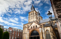 Roman catholic Basilica in Maastricht. The Roman catholic Basilica of Saint Servatius, situated in Maastricht (the Netherlands) at the Vrijthof square, is a Royalty Free Stock Photo