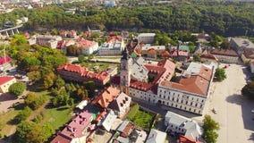 Roman Catholic Cathedral Aerial filmande arkivfilmer