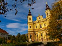 Roman-Catholic Cathedral The Assumption of the Blessed Virgin Mary in Oradea, Bihor County, Romania stock image
