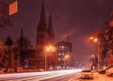 Roman Catholic Cathedral Kiev Ukraine-nachtlichten royalty-vrije stock fotografie