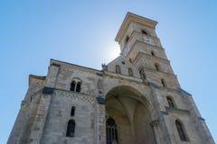 Roman-Catholic Cathedral Saint Michael inside the Citadel Alba-Carolina in Alba Iulia, Romania.  stock images