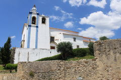 Roman catholic church. And medieval castle in Torres Vedras, Portugal royalty free stock photos
