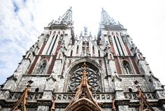 Roman Catholic Church. Church Of St. Nicholas In Kiev. Gothic Church With Pointed Towers Stock Images