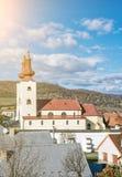 Roman catholic church in Divin village, Slovakia, sun rays Stock Images