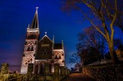 Roman Catholic Church en la noche, el transbordador de Harper, WV de San Pedro Imagenes de archivo