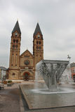 Roman catholic church and fountain Royalty Free Stock Photo