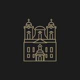 Roman catholic church. Illustration of a roman catholic church that can be used as logo symbol or as isolated design element Royalty Free Stock Photo