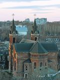 Roman Catholic Church in Mykolaiv, Ukraine. Saint Joseph Roman Catholic Church with towers constructed in 1896 in the City of Mykolaiv, Mykolaiv Oblast, Ukraine stock photo