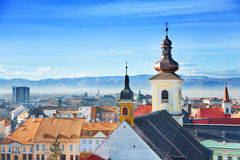 Roman Catholic Church and old town in Sibiu Stock Photos