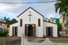 Roman Catholic Church in Port Mathurin, Rodrigues,. Mauritius Parish of Holy Heart of Marie Stock Images
