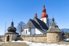 Roman Catholic church of Saint Ladislav. Village Liptovske Matiasovce. Slovakia royalty free stock image