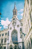 Roman catholic church in Sopron, analog filter. Roman catholic church in Sopron, Hungary. Religious architecture. Travel destination. Analog photo filter with Royalty Free Stock Photo