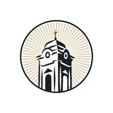 Roman catholic church tower. Illustration of a roman catholic church tower that can be used as logo symbol or as isolated design element Royalty Free Stock Images