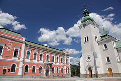 Roman catholic church at town Ruzomberok, Slovakia Royalty Free Stock Image