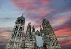 Roman Catholic Gothic cathedral in Rouen Royalty Free Stock Images