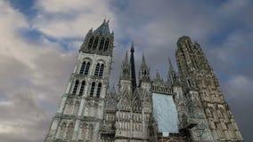 Roman Catholic Gothic domkyrka i Rouen, Haute-Normandie, Frankrike stock video