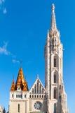 Roman Catholic Matthias Church and Holy Trinity plaque column at Fisherman`s Bastion in Budapest, Hungary, Europe stock photo
