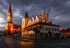 Roman Catholic St. Jaimes church and Town Hall -Levoca, Slovak Republic stock photography
