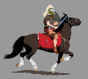 Roman Cavalry. A Roman cavalryman on horseback charges with sword drawn royalty free illustration