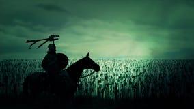 Roman Cavalry Soldier Seating sur son cheval devant une armée massive illustration de vecteur