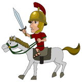 Roman cavalryman cartoon Royalty Free Stock Photo
