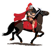 Roman Cavalryman with Red Plume and Cloak. A Roman Soldier on horseback charges with sword drawn and cloak flying stock illustration