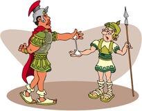 Roman Centurion. Line-art cartoon stock illustration