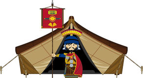 Roman Centurion Banner Soldier at Tent Stock Images