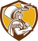 Roman Centurion Carry Flag Crest Retro Stock Photos