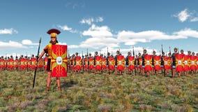 Roman centurion and legionaries. Computer generated 3D illustration with Roman centurion and legionaries Stock Image