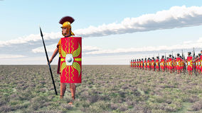 Roman centurion and legionaries Stock Photos