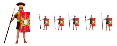 Roman centurion and legionaries isolated on white background Stock Image