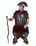 Roman Centurion med den transversal- vapen- och vinrankapersonalen Royaltyfria Bilder
