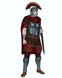 Roman Centurion with Transverse Crest. Centurion of the Imperial Roman legionary army wearing a transverse crested helmet and carrying a gladius or short sword Stock Image