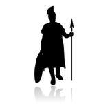 Roman centurion vector silhouette. Vectored illustration of roman centurion as silhouette with shield and helmet Stock Photography