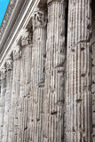 Roman Chamber of Commerce, Rome, Italy. Remains of Temple commemorating Emperor Hadrian. The rest of the building is now the Roman Chamber of Commerce. Camera di Royalty Free Stock Photography