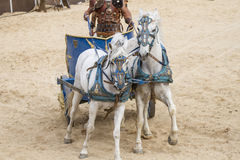 Roman chariot in a fight of gladiators, bloody circus Royalty Free Stock Photos