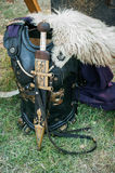 Roman Chestplate and Sword. Roman armour with sword, presented at the Tomis Dacian Festival 2013 Stock Image